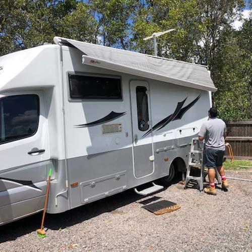 Sunshine Coast Caravan Repairs Awnings Before