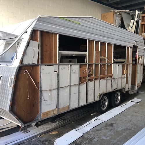 Caravan Cladding Repairs Storm damage Before repair