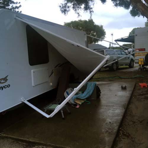 storm Damage Caravan Awning
